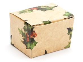 Kraft Holly 1 Choc sized Ballotin - Gift Carton Ideal for the festive season