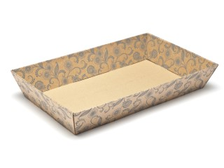 Kraft Floral Large sized Card Tray Hamper - Fold-up Tapered Gift Tray Ideal for Christmas or Gifting occasions