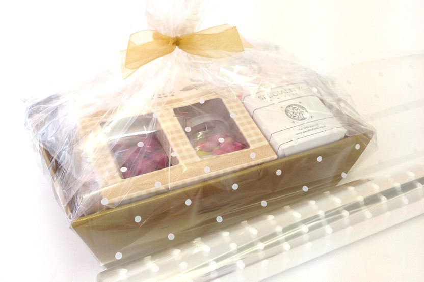 Clear with White Dots Film Wrap - Decorative Film Packaging Wrap Ideal for all occasions or Christmas